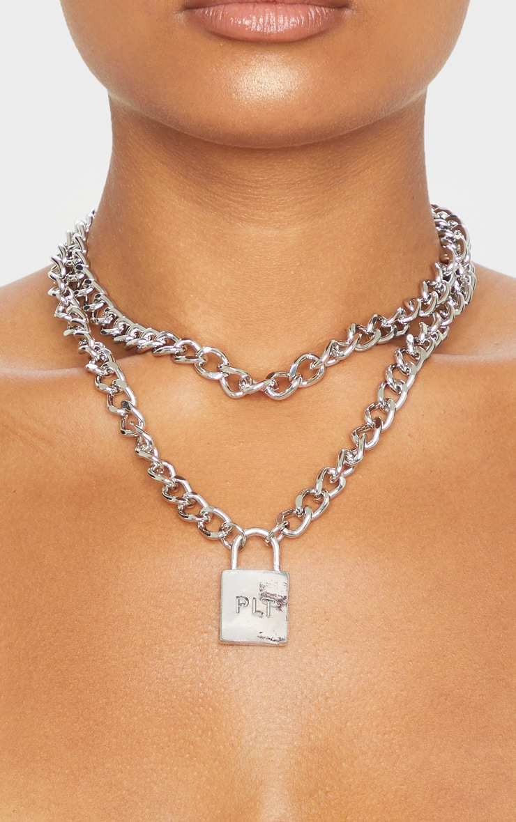 PRETTYLITTLETHING Silver Padlock Chunky Chain Layering Necklace 2