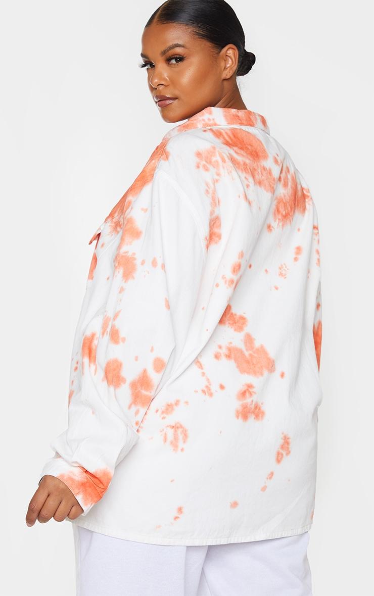 Plus Peach Tie Dye Popper Denim Shirt 2