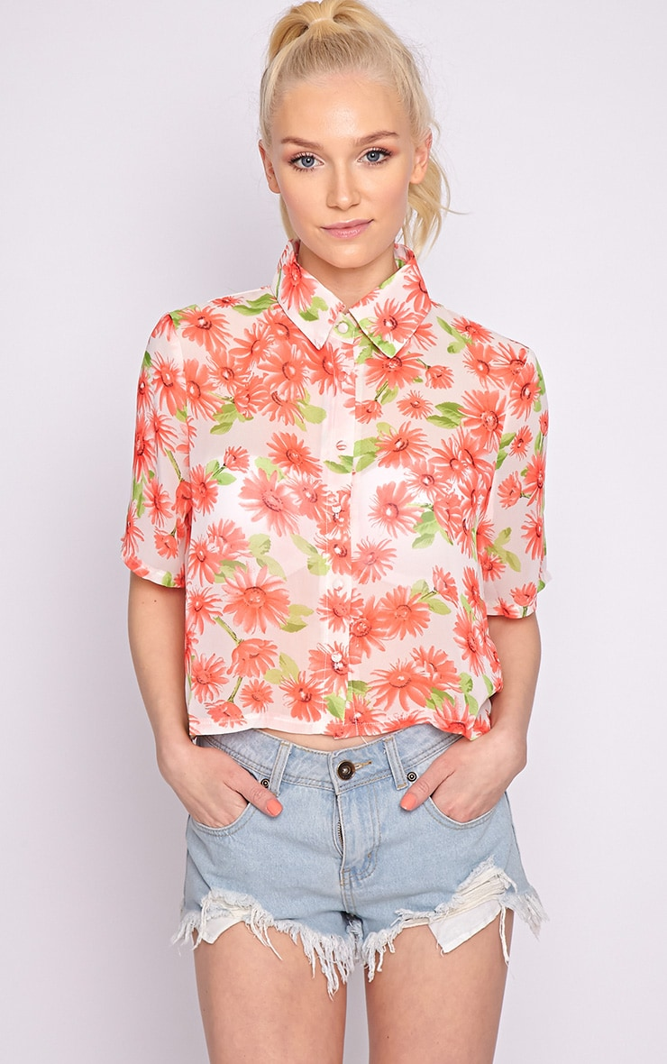 Reyna Multi Floral Cropped Shirt  5