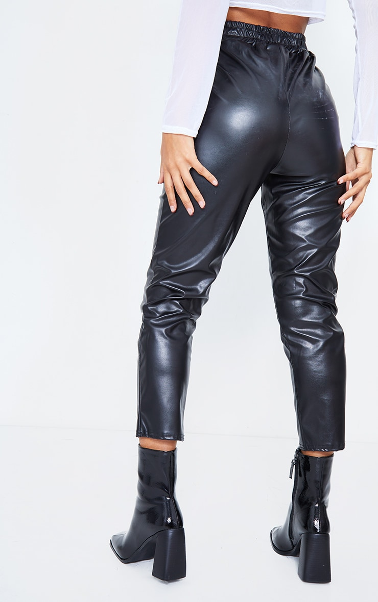 Black Faux Leather Crop Skinny Pants 4