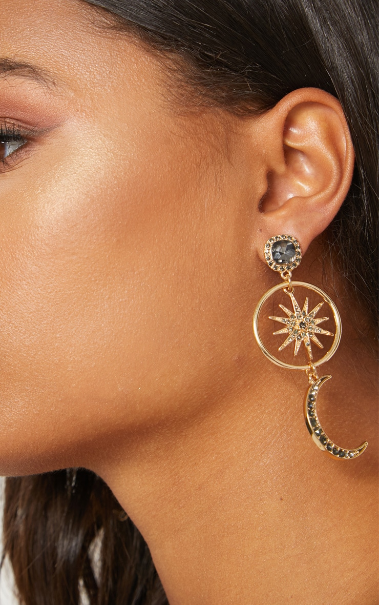 Gold Moon Star Diamante Earrings