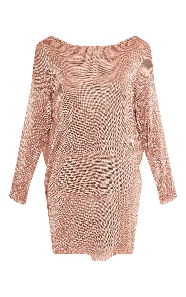 Judanna Rose Gold Scoop Back Sheer Knitted Mini Dress 3