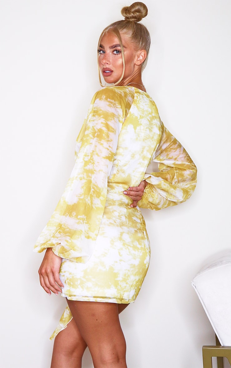 Chartreuse Tie Dye Chiffon Long Sleeve Bodycon Dress 2