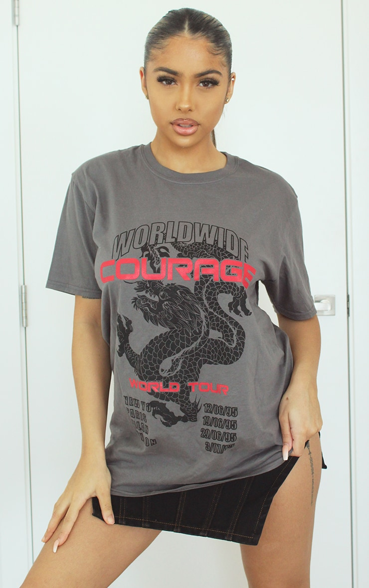 Grey Dragon Oversized T Shirt 1