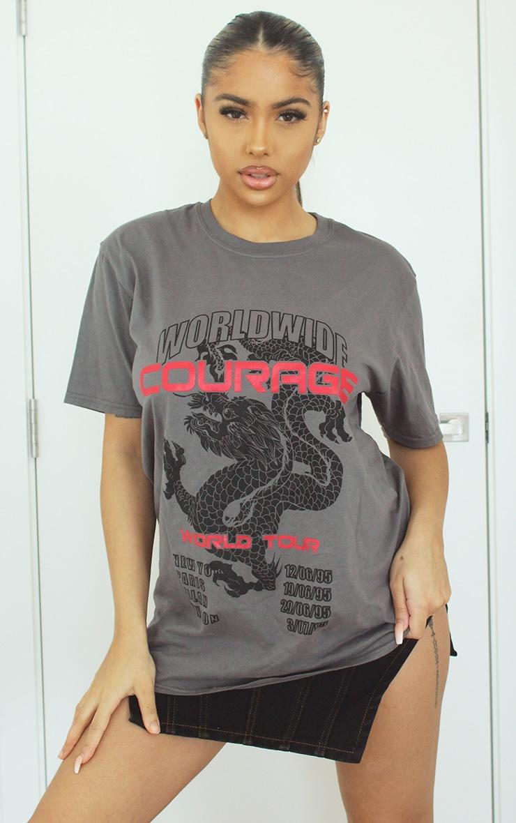 Grey Dragon Oversized T Shirt 1