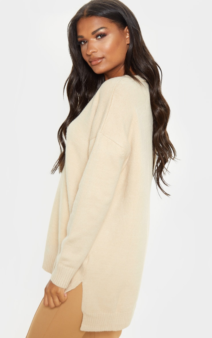 Stone Oversized V Neck Knitted Jumper 2