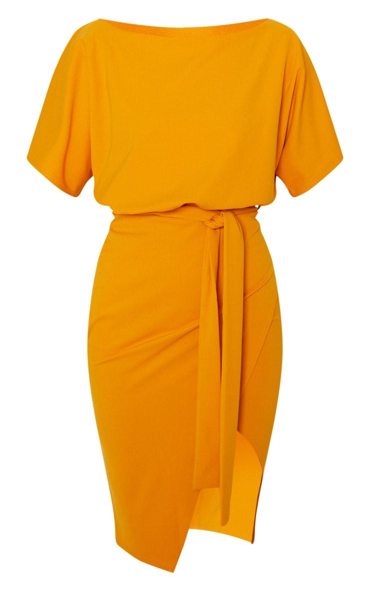 Mustard Wrap Front Kimono Sleeve Midi Dress 3