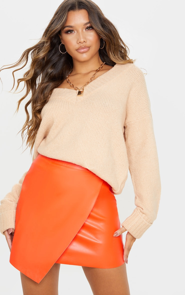 Orange Faux Leather Wrap Mini Skirt 1