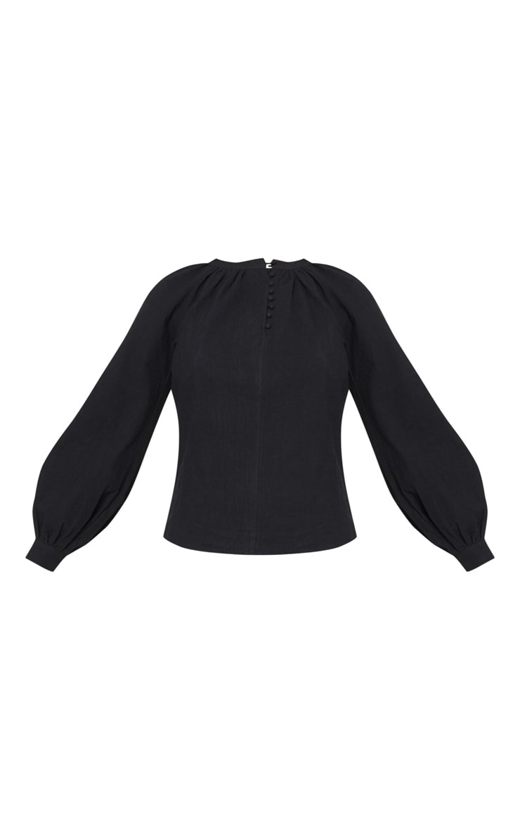 Tall Black Woven Button Front Puff Sleeve Top 3