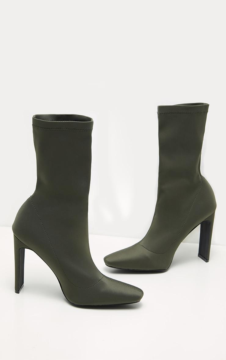 Khaki Lycra Heeled Sock Boots 3