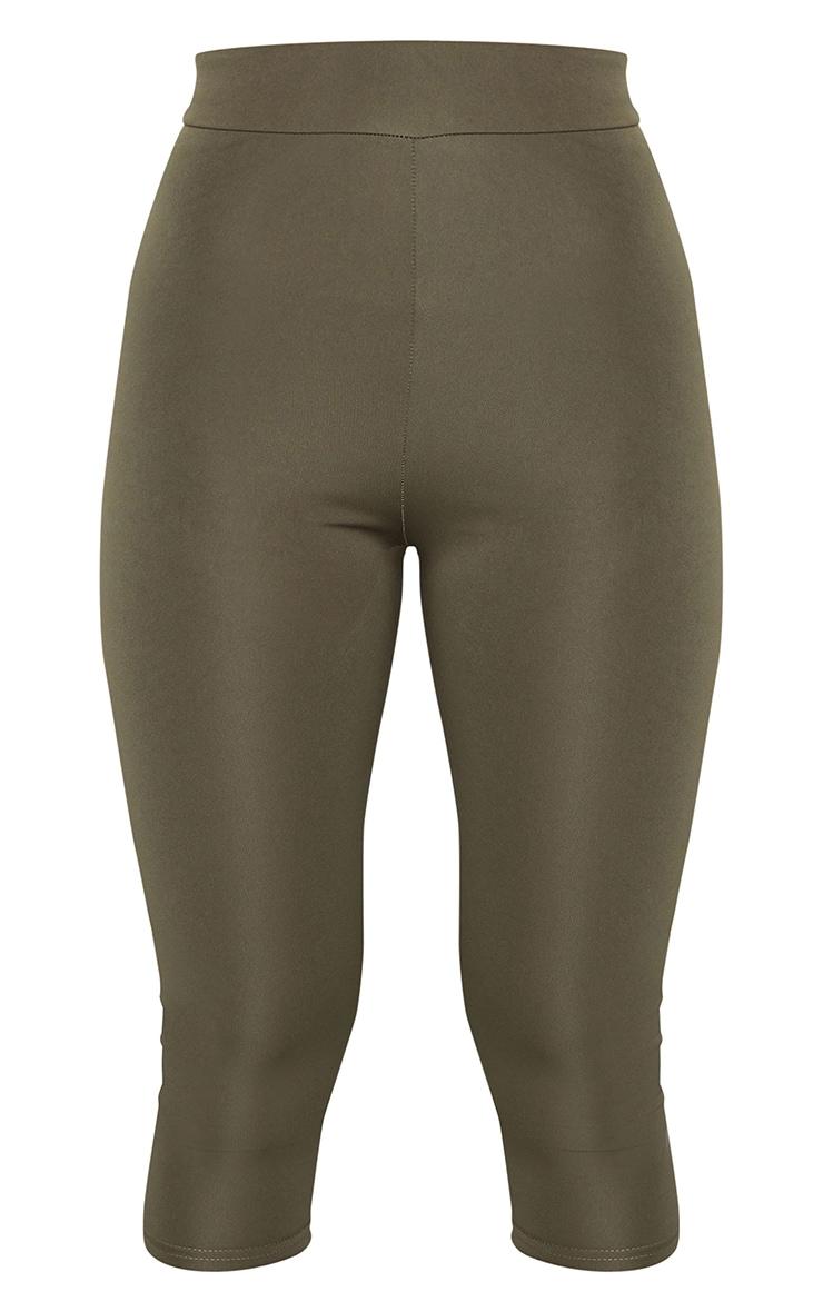 Khaki Basic Cropped Gym Leggings 5