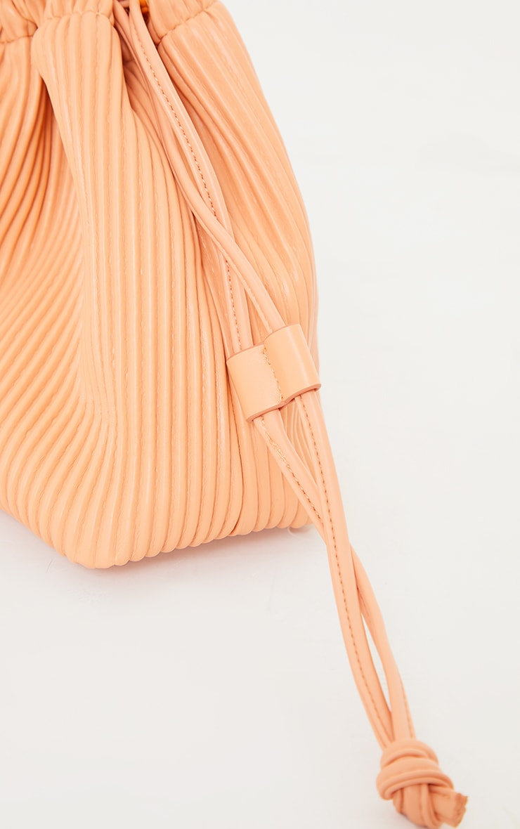 Peach Oversized Pleated Clutch Bag 3