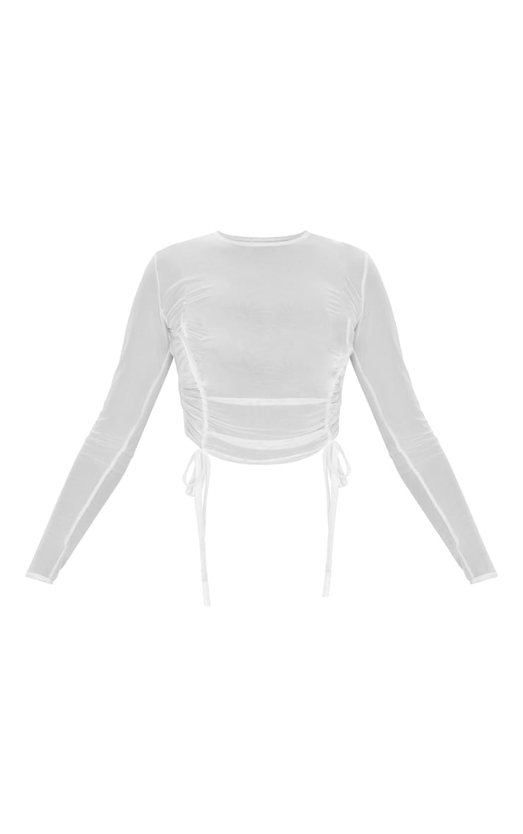 White Sheer Ruched Tie Long Sleeve Crop Top 5