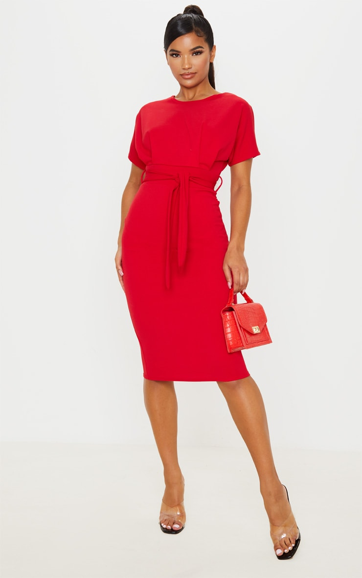 Red Short Sleeve Tie Waist Midi Dress 1