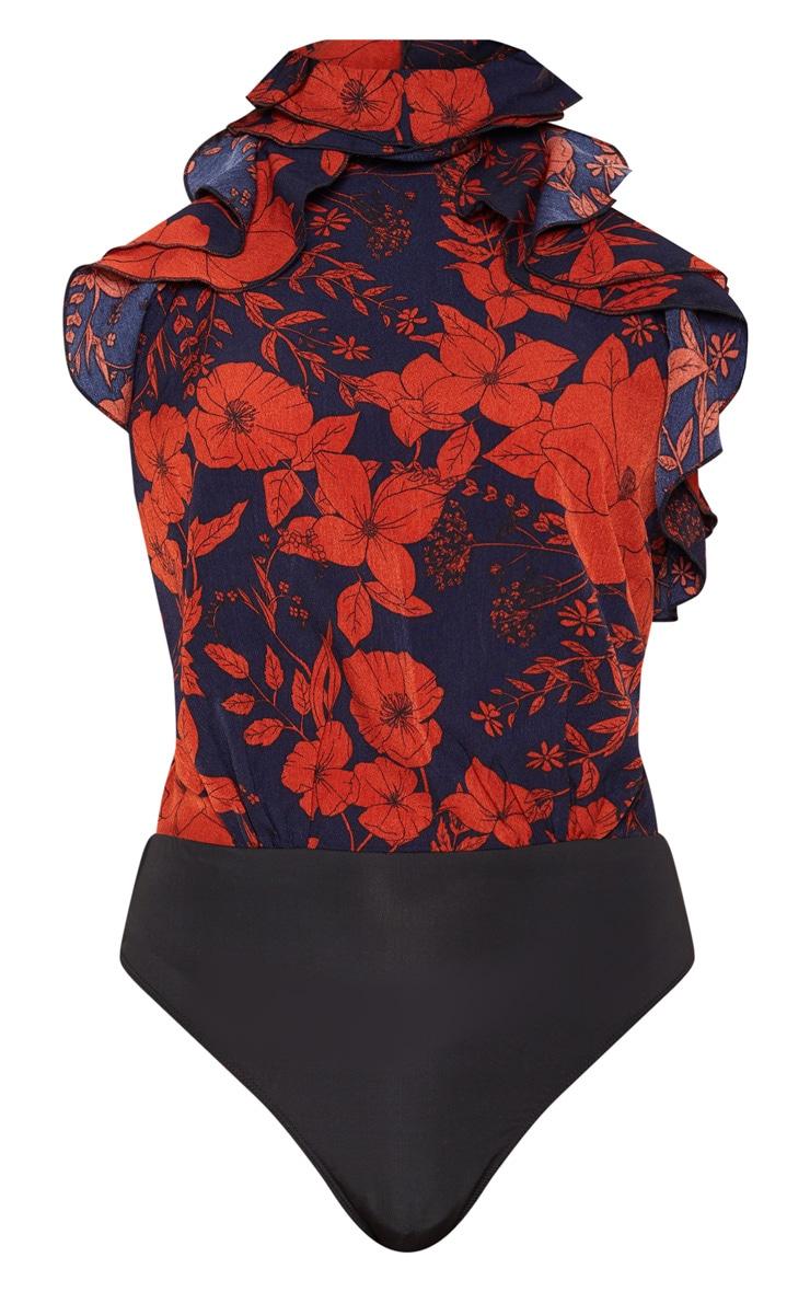 Navy Floral Ruffle High Neck Sleeveless Bodysuit 3