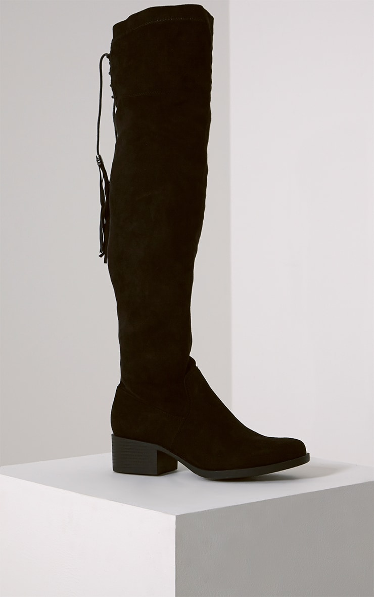 Tracey Black Faux Suede Tassel Thigh Boots 3