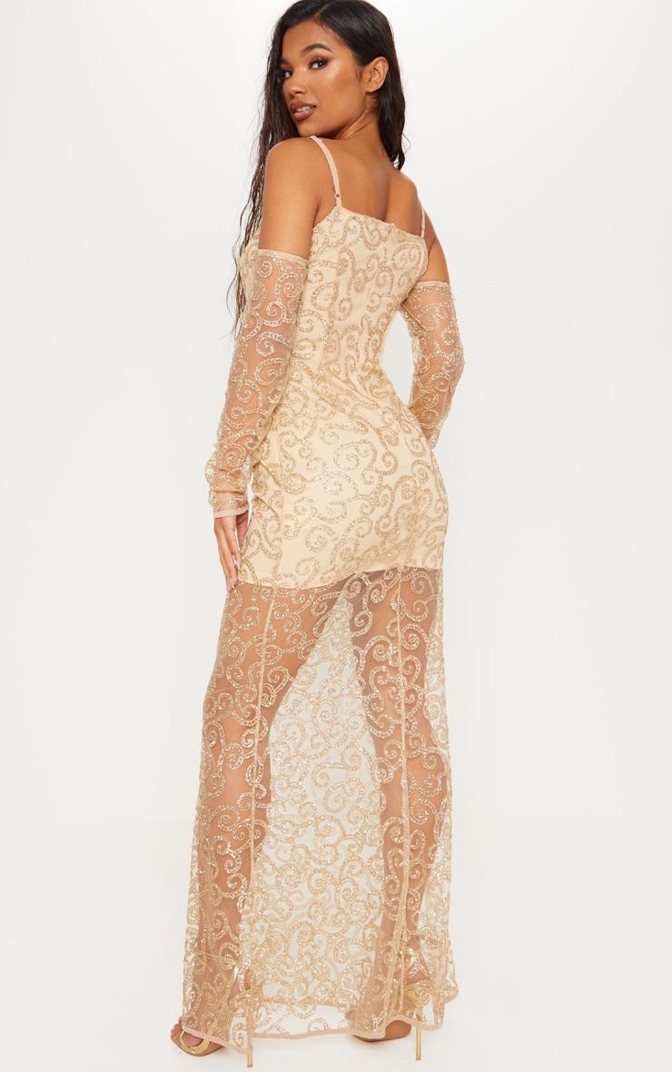 Gold Cold Shoulder Glitter Swirl Mesh Maxi Dress