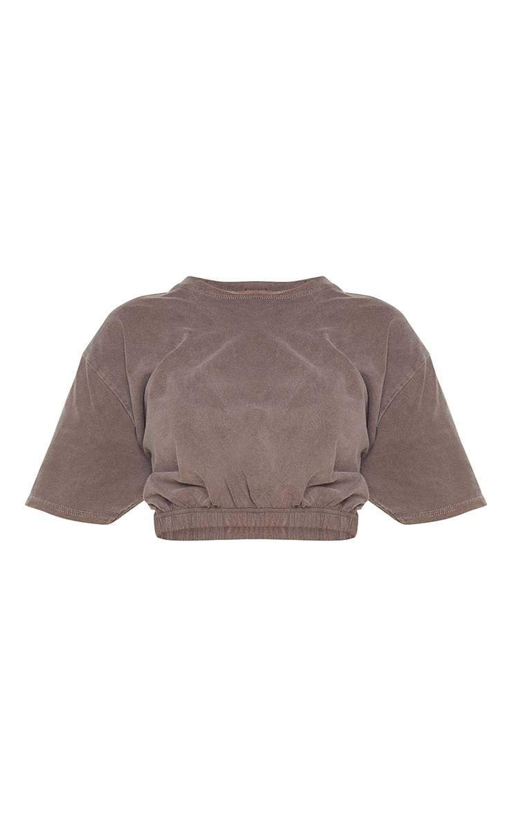 Chocolate Washed Cropped T Shirt 5