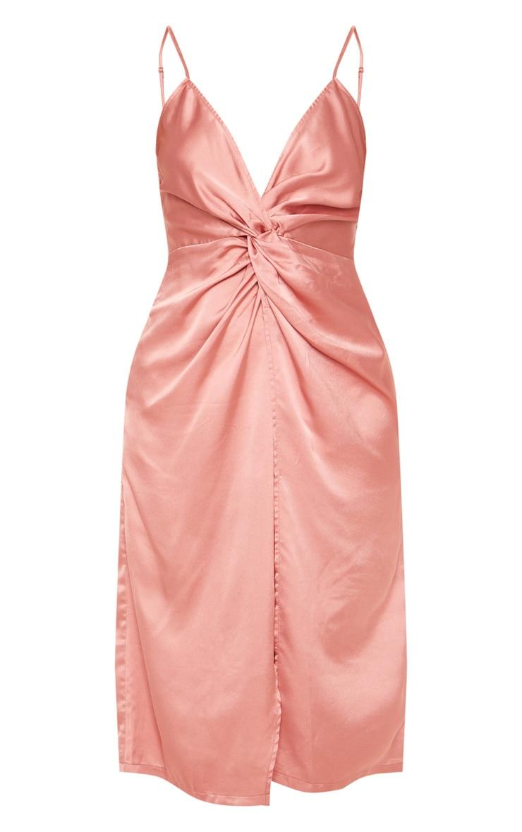 Rose Satin Twist Detail Midi Dress 3
