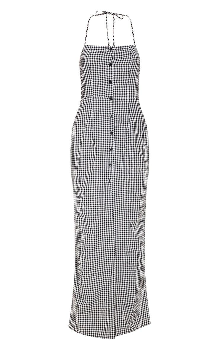 Black Gingham Halterneck Button Front Maxi Dress 3