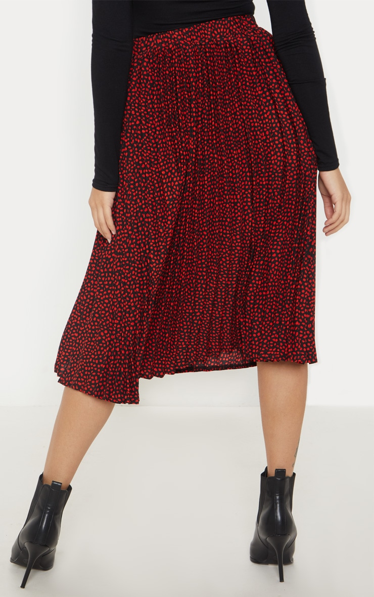 Petite Burgundy Chiffon Polka Dot Pleated Midi Skirt  4