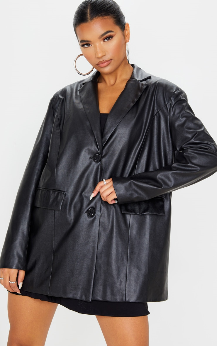 Black Faux Leather Oversized Dad Blazer 1