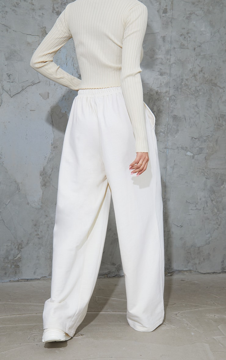Cream Drawstring Slouch Wide Leg Trousers 3