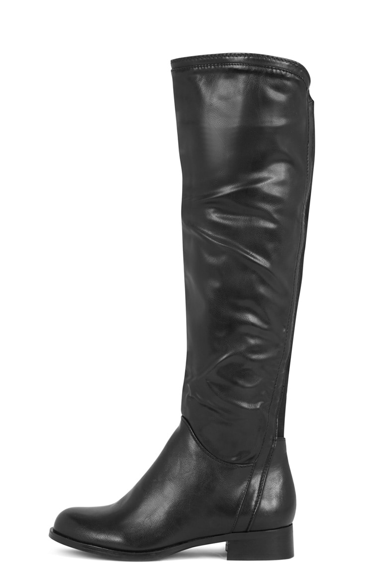 Karin Black Elasticated Knee Boot  1