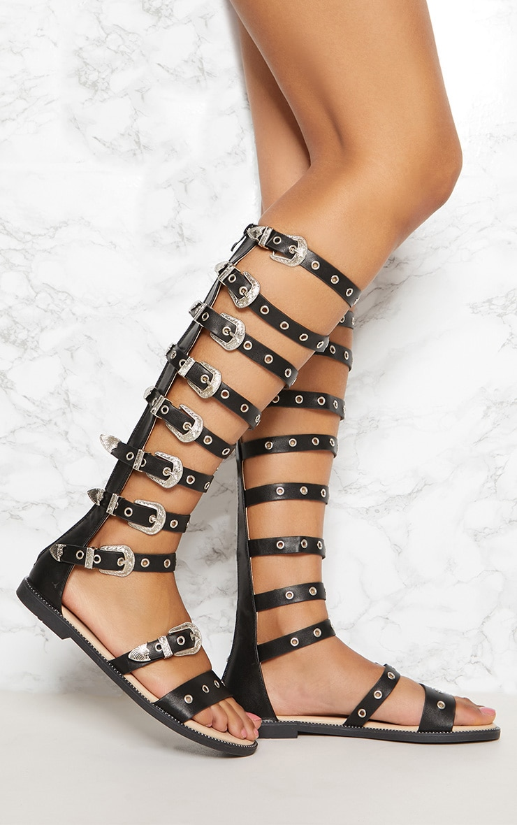 Black Western Buckle Knee Gladiator Sandal 1