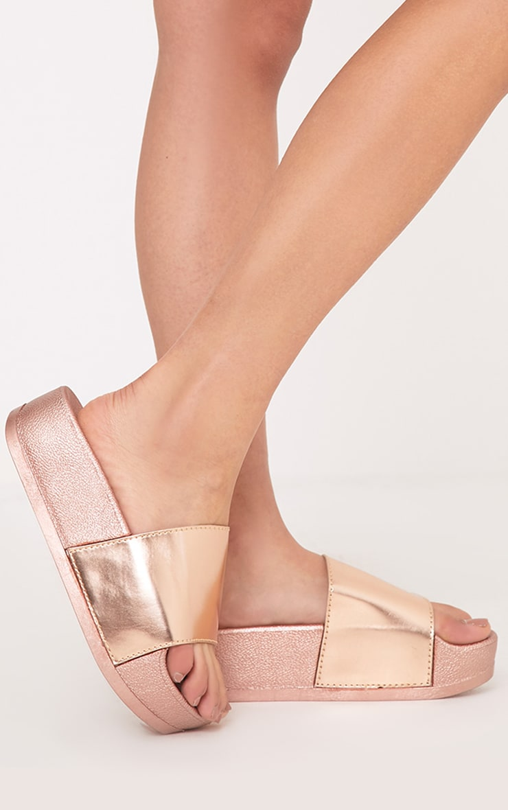 99bc96067782 Nataylia Rose Gold Flatform Sliders image 1