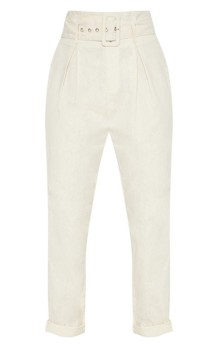 Cream Belted Paperbag Tapered Trouser 3