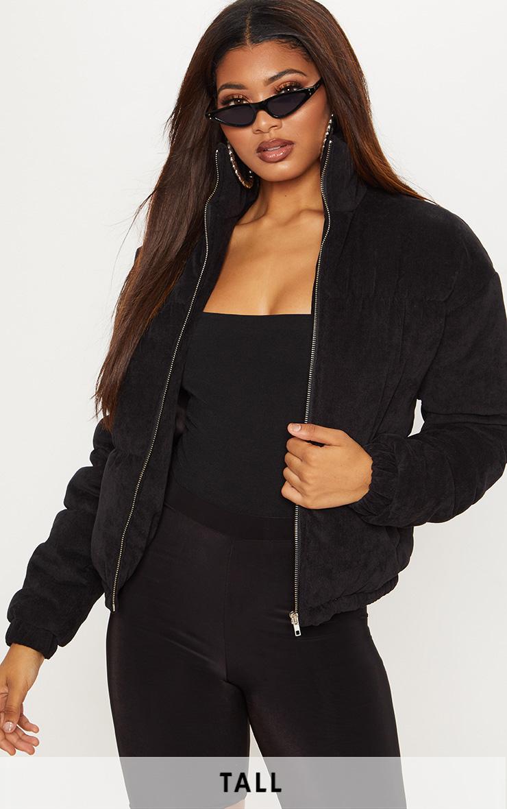 Tall Black Cord Puffer Coat 1
