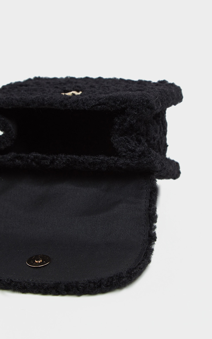 Black Faux Shearling Mini Grab Bag  3
