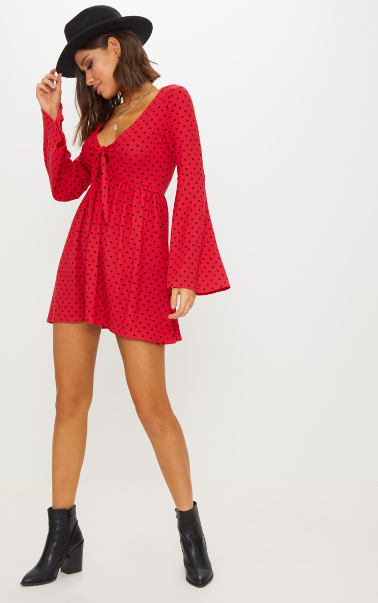 Red Polka Dot Fluted Sleeve Tie Detail Tea Dress 1