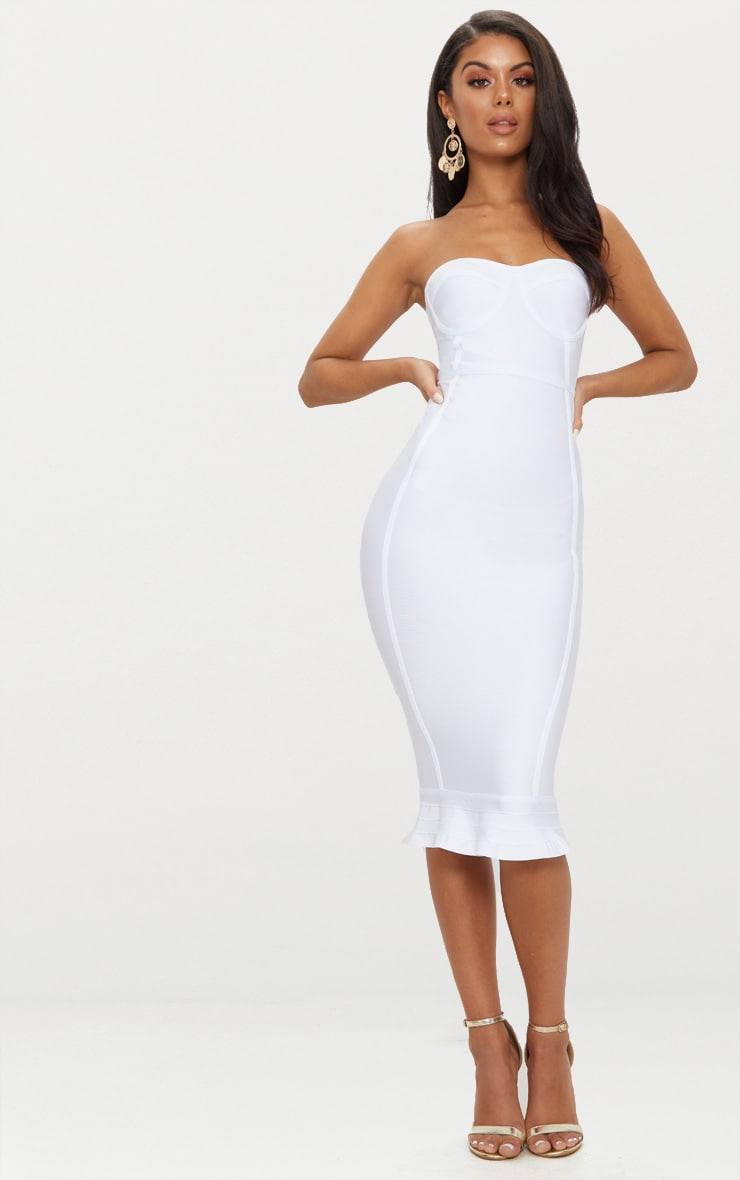 Roxina White Bandage Frill Hem Midi Dress 1