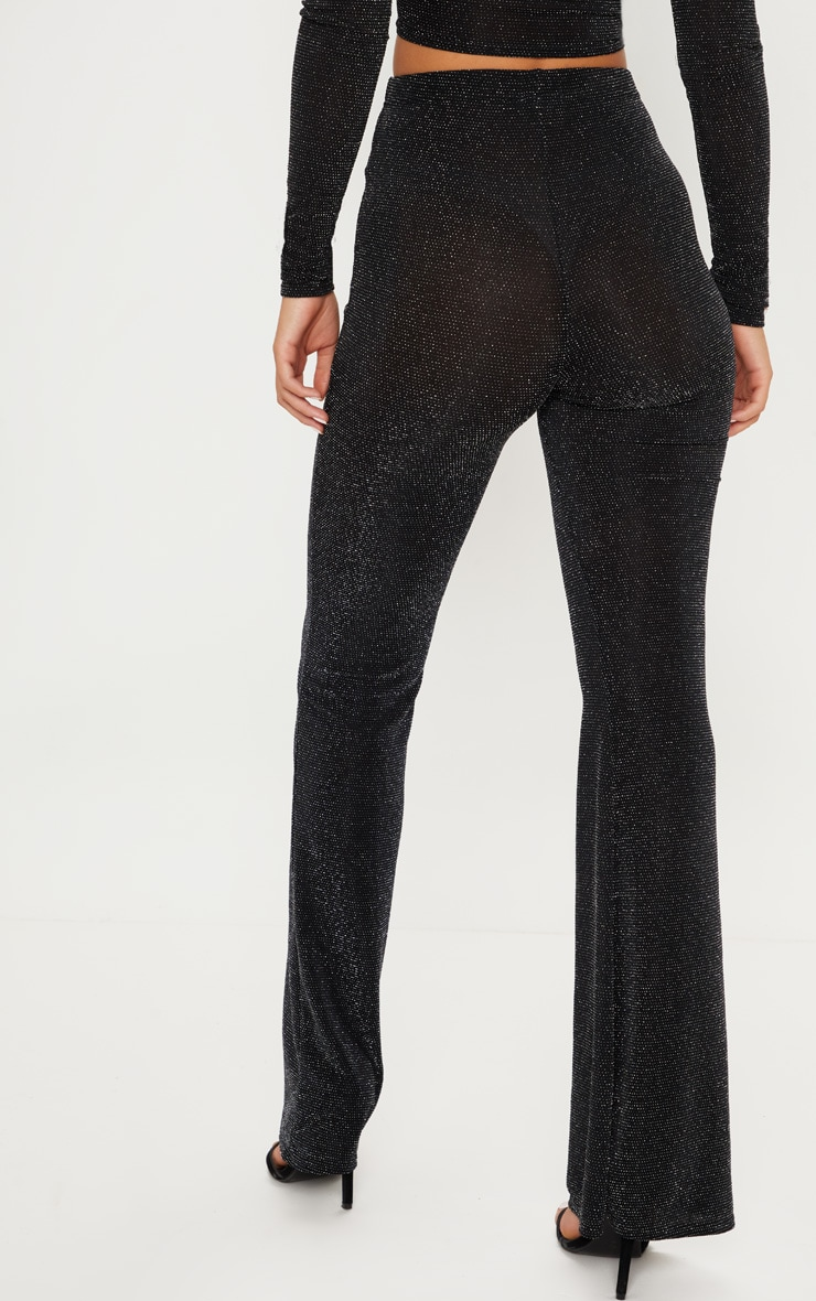 Black Glitter Flared Leg Pants 4