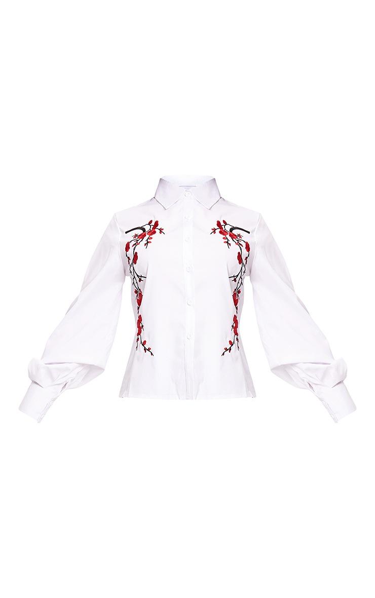 White Floral Applique Shirt 3