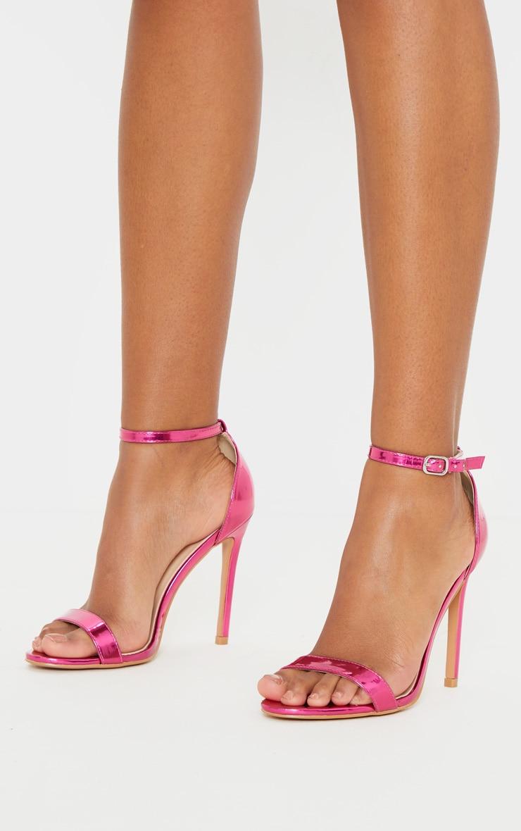 Fuchsia Metallic Clover Heeled Sandals 1