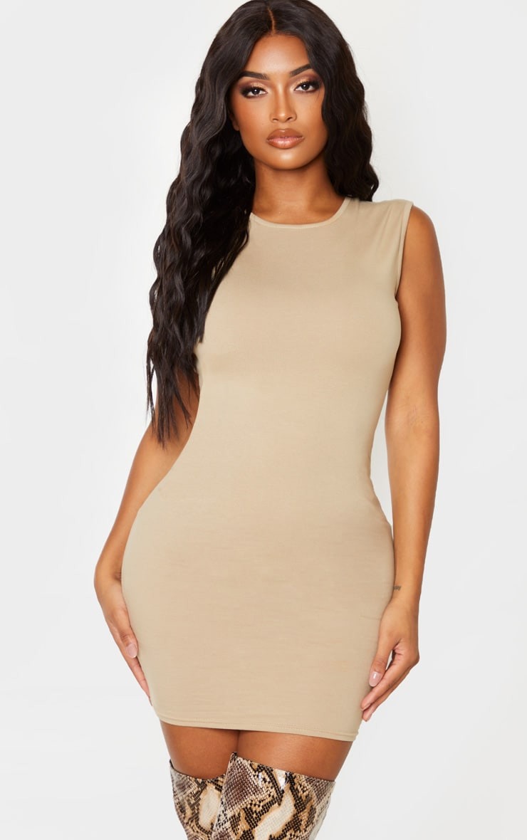 Shape Stone Cotton Sleeveless Bodycon Dress 1