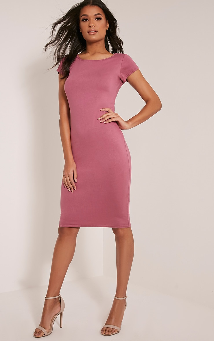 Basic Rose Capped Sleeve Midi Dress 4