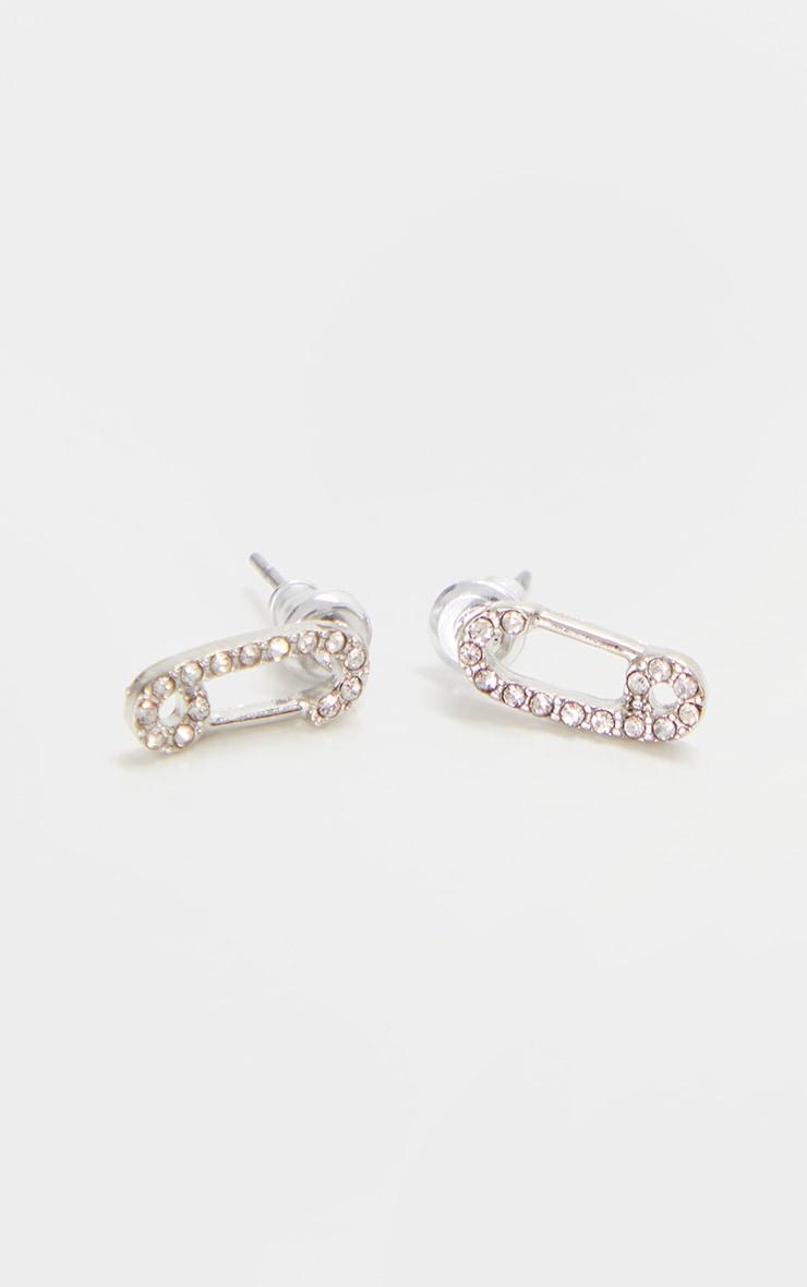 Silver Diamante Mini Safety Pin Earrings 1