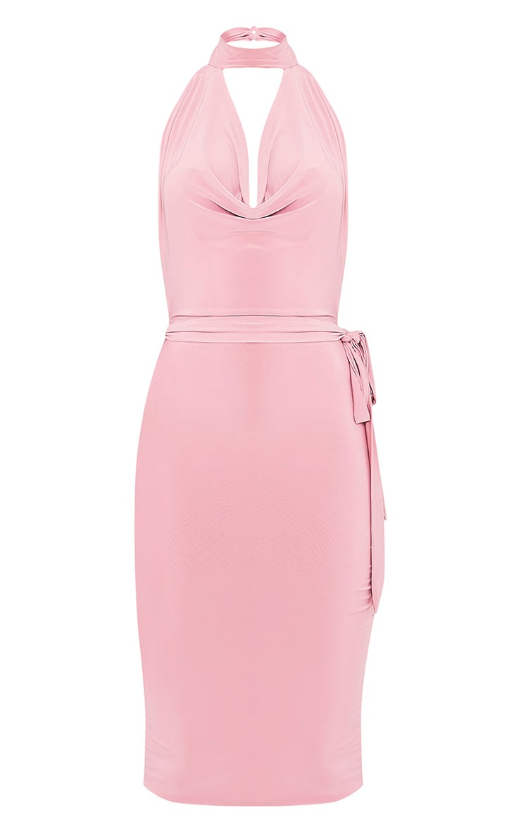 Carllia Pale Pink Slinky Choker Neck Cowl Midi Dress 5