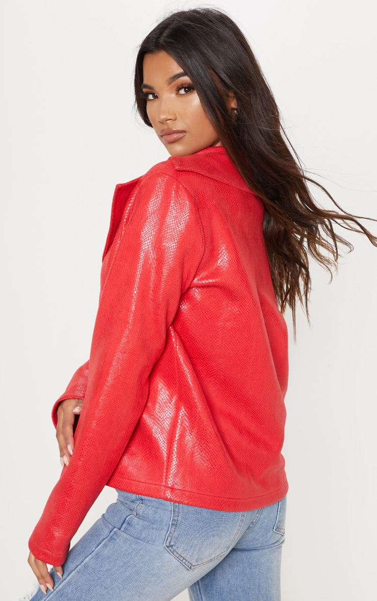 Red Snake PU Biker Jacket  2