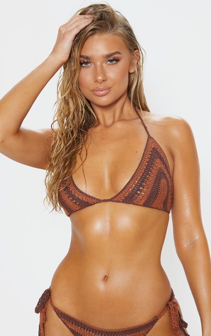 Chocolate Crochet Bikini Top 1