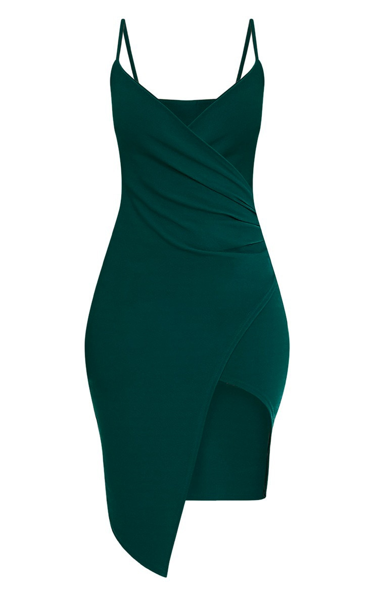 Lauriell Emerald Green Wrap Front Midi Dress 4