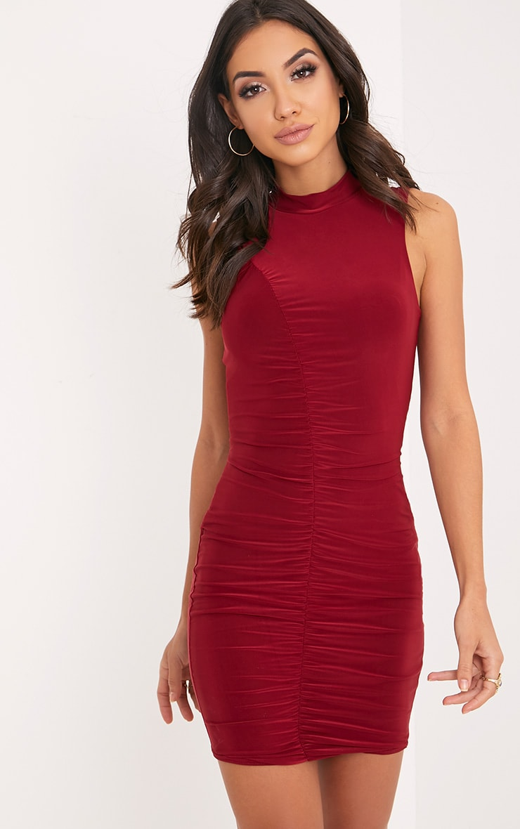 Fashion boutiques burgundy ruched bodycon dress plymouth