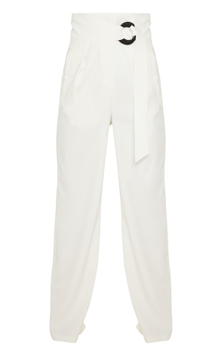 Petite Cream Belt Ring Detail Wide Leg Pants 3