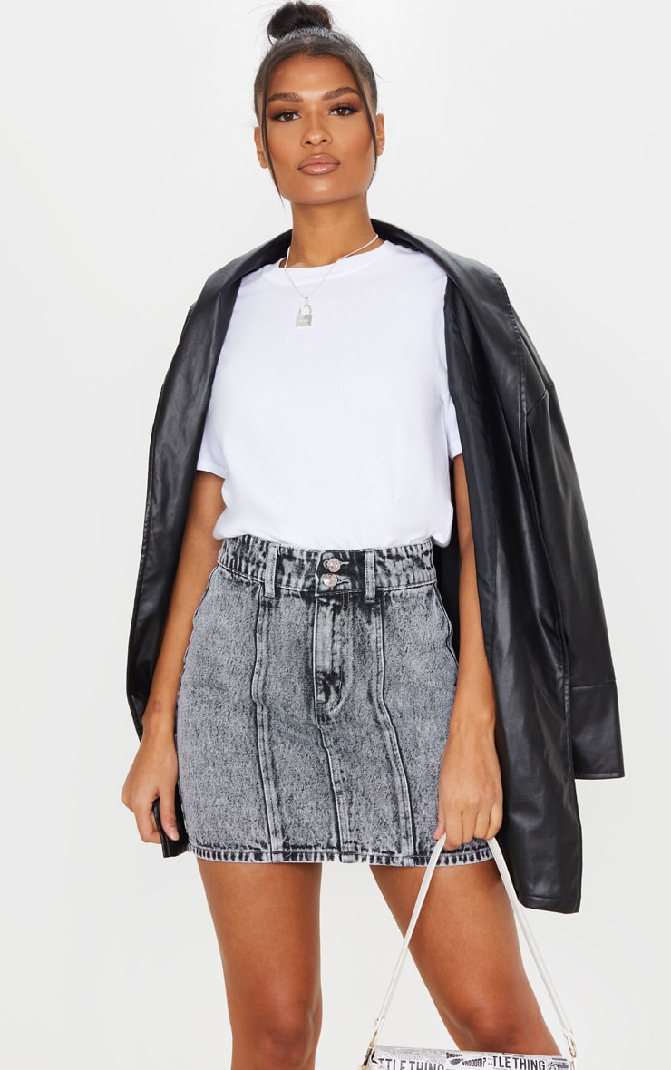 Black Snow Wash 2 Button Seam Detail Denim Skirt 5