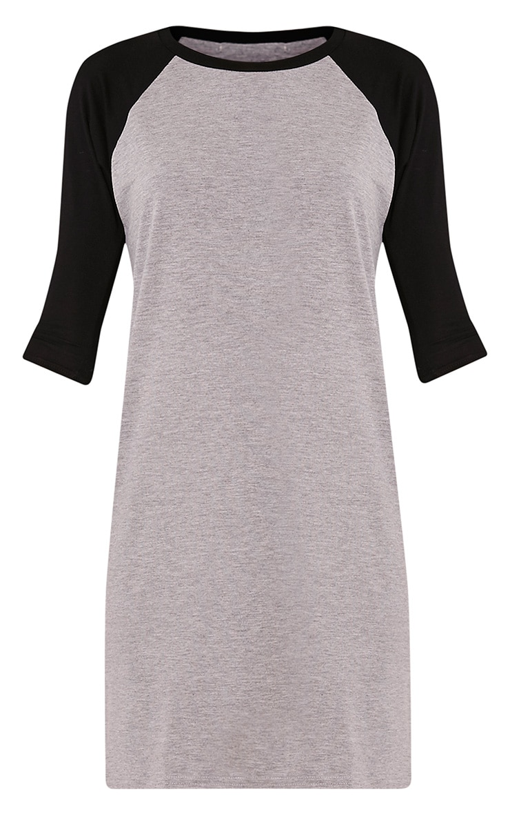 Kalei Grey Contrast Raglan Sleeve T Shirt Dress 3