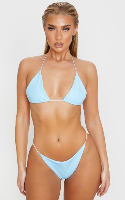 Blue Vinyl Elasticated Strap Triangle Bikini Top